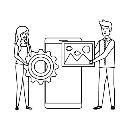 young business couple with smartphone and gear vector illustration design