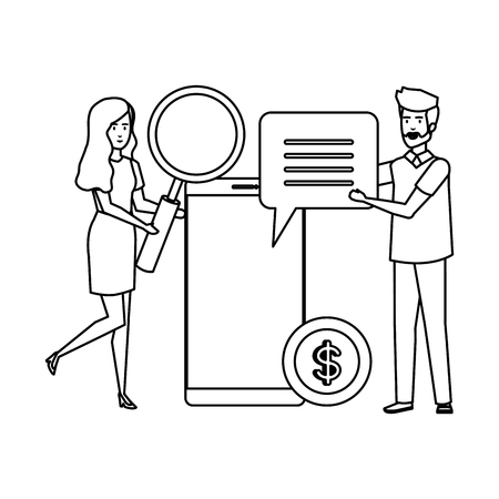 young business couple with smartphone and magnifying vector illustration design