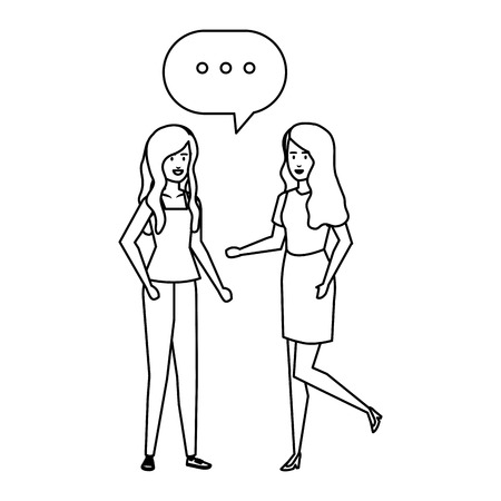 couple girls talking with speech bubble vector illustration design Çizim