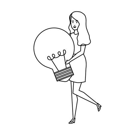 casual businesswoman lifting bulb vector illustration design Archivio Fotografico - 125077947