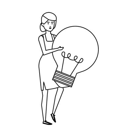 casual businesswoman lifting bulb vector illustration design Archivio Fotografico - 125077948