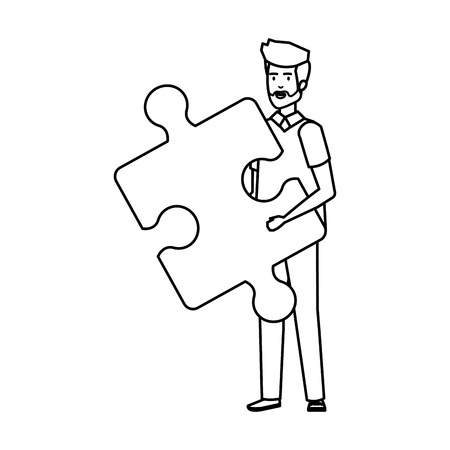 casual businessman lifting puzzle piece vector illustration design 版權商用圖片 - 125077958