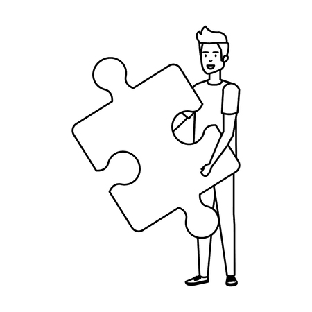 casual businessman lifting puzzle piece vector illustration design 版權商用圖片 - 125077960