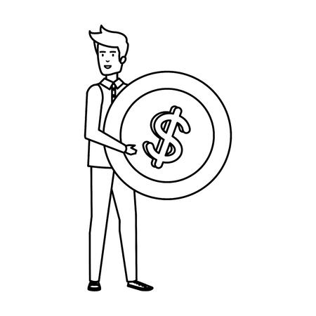 casual businessman lifting coin money vector illustration design Stok Fotoğraf - 125077967
