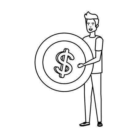 casual businessman lifting coin money vector illustration design