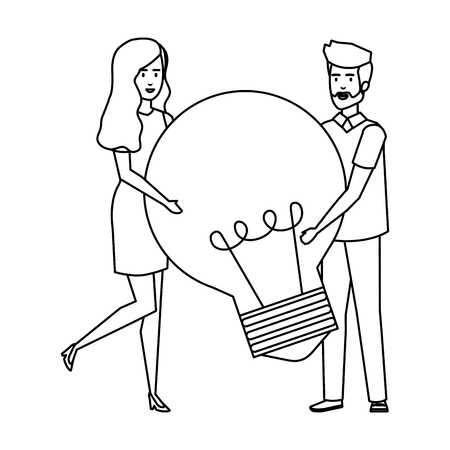 young business couple with bulb light vector illustration design