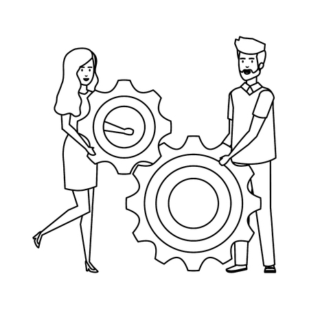 young business couple lifting gear vector illustration design Çizim