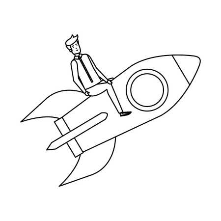 casual businessman flying in rocket vector illustration design Stok Fotoğraf - 125078008