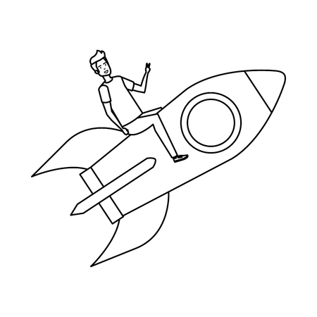 casual businessman flying in rocket vector illustration design Stok Fotoğraf - 125078009