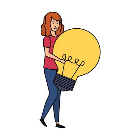 casual businesswoman lifting bulb vector illustration design Archivio Fotografico - 125078010