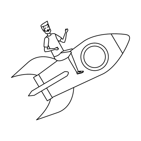 casual businessman flying in rocket vector illustration design Stok Fotoğraf - 125078018