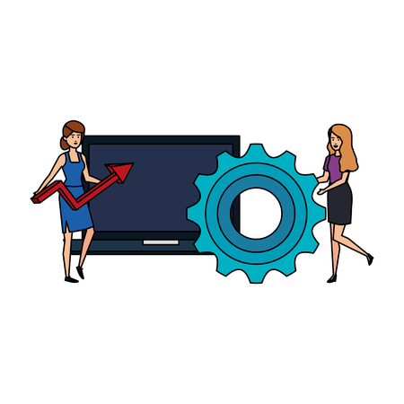 couple girls with laptop and gear vector illustration design Çizim