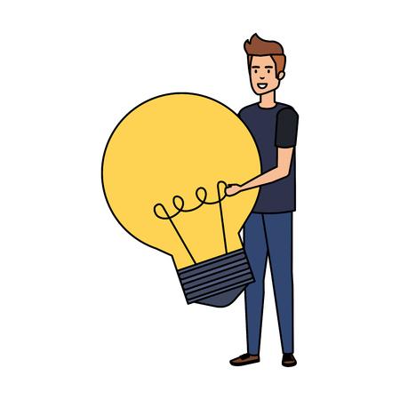 casual businessman lifting bulb vector illustration design