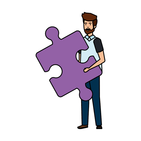 casual businessman lifting puzzle piece vector illustration design Stok Fotoğraf - 125078055