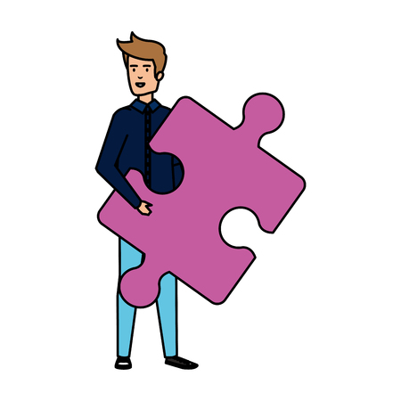 casual businessman lifting puzzle piece vector illustration design Stok Fotoğraf - 125078056