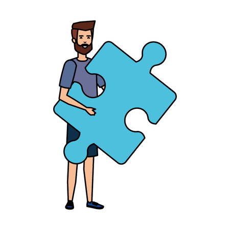 casual businessman lifting puzzle piece vector illustration design
