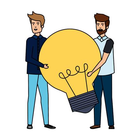 young businessmen lifting bulb vector illustration design Stock Illustratie
