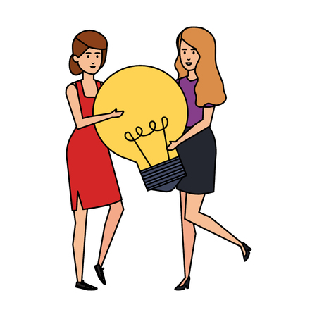 couple girls lifting bulb vector illustration design Çizim