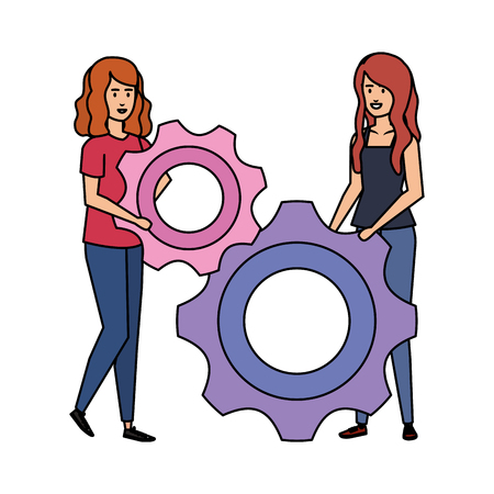 couple girls with gears vector illustration design