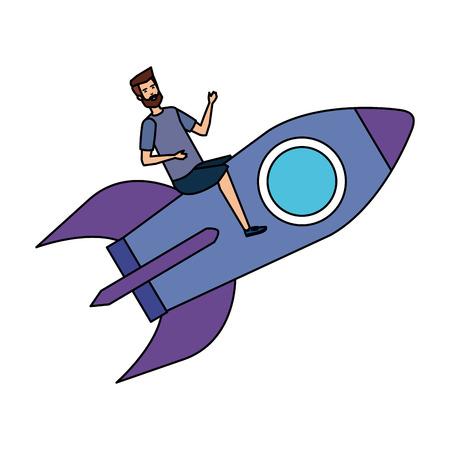 casual businessman flying in rocket vector illustration design