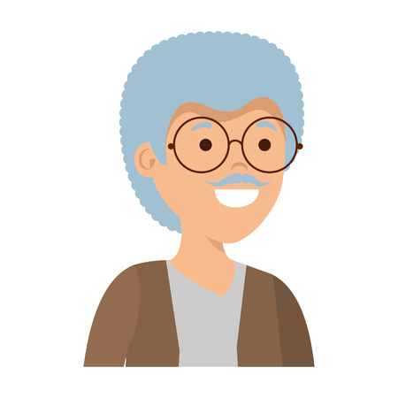 old man character icon vector illustration design