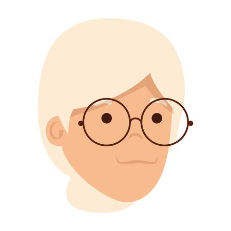 Diseño de ilustración de vector de personaje de cabeza de anciana