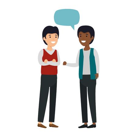 young couple men interracial speaking vector illustration design Illustration