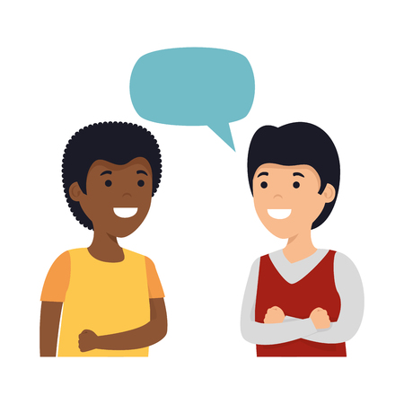 young couple men interracial speaking vector illustration design  イラスト・ベクター素材