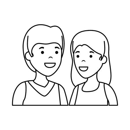 couple avatar characters icons vector illustration design