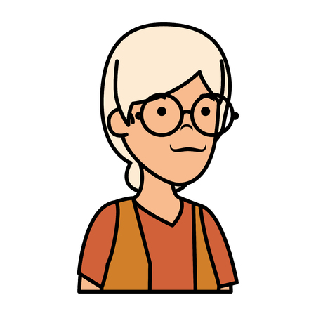 old woman character icon vector illustration design