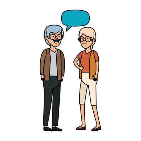 cute grandparents couple with speech bubble vector illustration design Banque d'images - 125078218