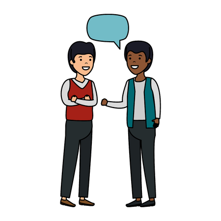 young couple men interracial speaking vector illustration design Illustration