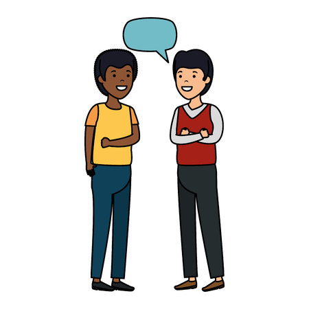 young couple men interracial speaking vector illustration design Stock Vector - 125078221
