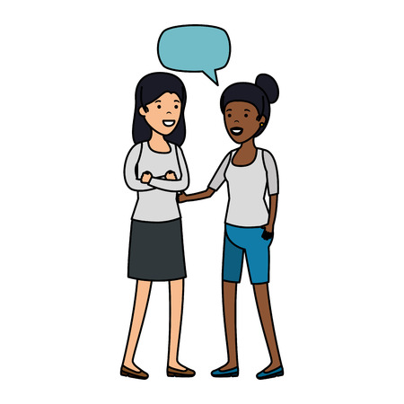 couple girls with speech bubble interracial characters vector illustration design Çizim