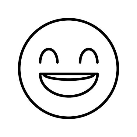 happy fool face emoticon icon vector illustration design