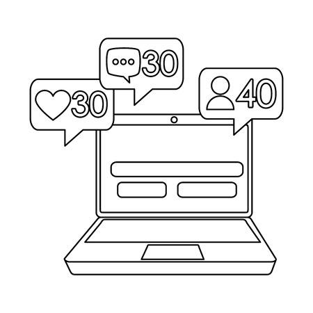 laptop with counter speech bubbles vector illustration design