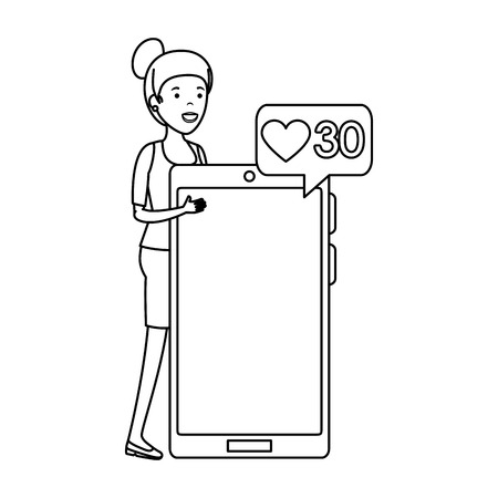 young woman with smartphone and speech bubble vector illustration design