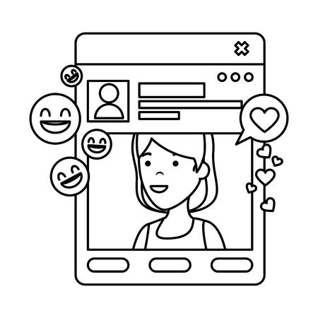 young woman with template and social media vector illustration design Stock Illustratie