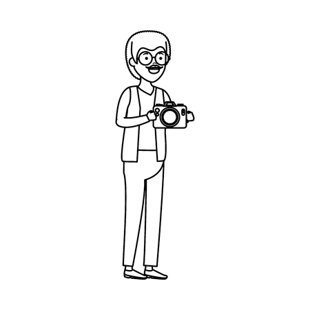 old man with camera photographic vector illustration design