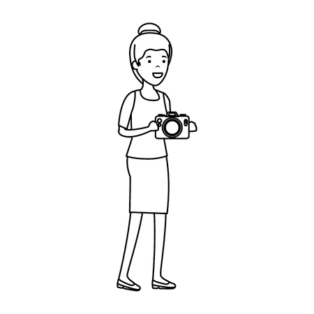 young woman with camera photographic vector illustration design
