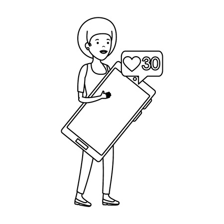 young black woman with smartphone vector illustration design Stock Illustratie