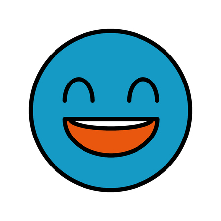happy fool face emoticon icon vector illustration design