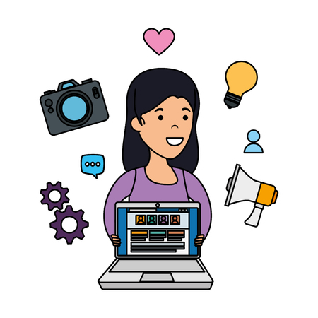 young woman with laptop and business icons vector illustration design