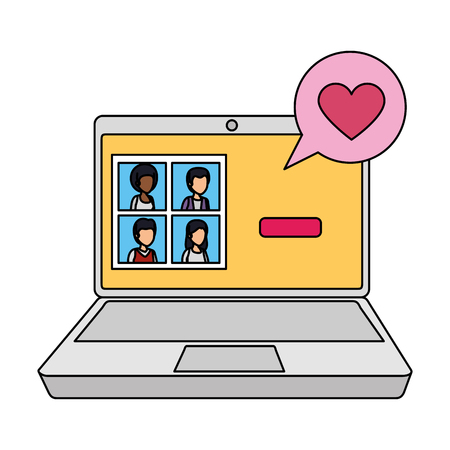 laptop with community and speech bubble love vector illustration design