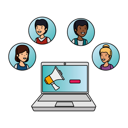 group of people with laptop vector illustration design