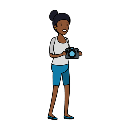 young black woman with camera vector illustration design Stock Illustratie