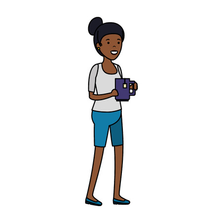 young black woman with tea cup vector illustration design Stock Illustratie