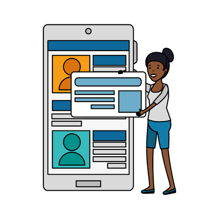 young black woman with cellphone vector illustration design Stock Illustratie