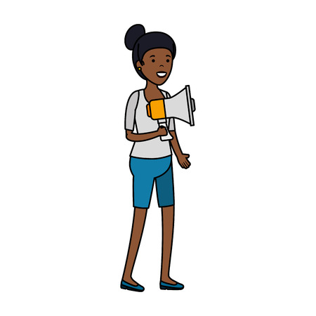 young black woman with megaphone vector illustration design Illustration