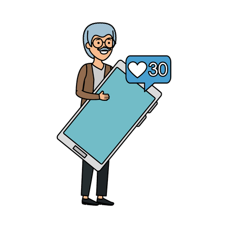 old man with speech bubble and smartphone vector illustration design